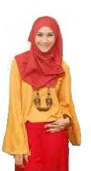 Zaskia Hiijab Merah Kuning